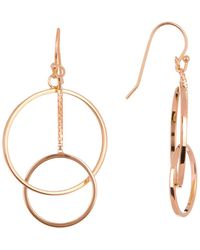 Argento Vivo - 18k Rose Gold Plated Sterling Silver Double Circle Link Drop Earrings - Lyst
