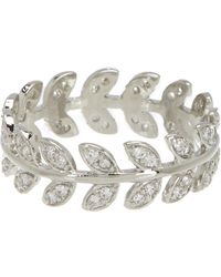 Shashi - 18k White Gold Plated Sterling Silver Pave Crystal Leaf Band Ring - Lyst