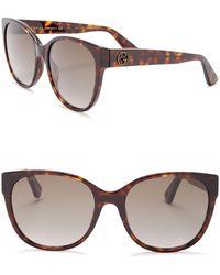 f2de8b50e41ed Lyst - Gucci Women s Cat Eye Acetate Frame Sunglasses in Brown