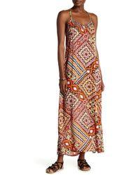 Boho Me - Spaghetti Strap Beaded Print Maxi Dress - Lyst