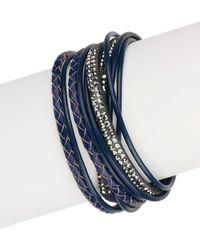 Saachi - Navy Urban Wrap Genuine Leather Bracelet - Lyst