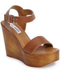Steve Madden - Belma Leather Wedge Sandal - Lyst