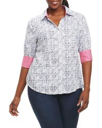 Foxcroft - Mary Circle Tile Print Shirt (plus Size) - Lyst