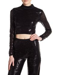 Wow Couture - Sequin Lace-up Back Crop Top - Lyst