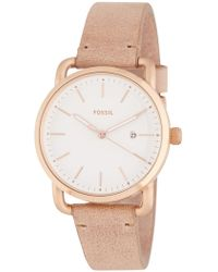 Fossil - Women's The Commuter Leather Strap Watch, 34mm - Lyst