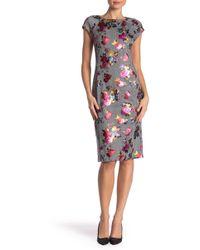 35cdcbab Lyst - Eci Printed Cap-sleeve Sheath Dress in Blue