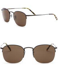 4ed60a515e3 Oliver Peoples - Rickman 51mm Half Rim Square Sunglasses - Lyst