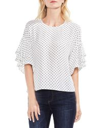 Vince Camuto - Poetic Dots Tiered Ruffle Sleeve Blouse - Lyst