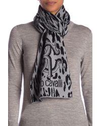 Roberto Cavalli - Mongrammed Animal Print Wool Blend Scarf - Lyst