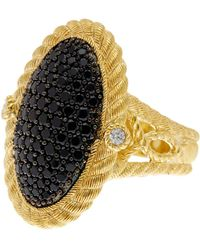 Judith Ripka - Gold Plated Sterling Silver Black Spinel Cz Ring - Lyst