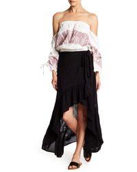 Young Fabulous & Broke - Prarie Hi-lo Wrap Eyelet Skirt - Lyst