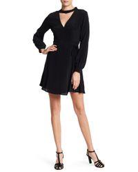 Lush - Mock Neck Long Sleeve Wrap Dress - Lyst