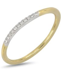 Bony Levy - 18k Two-tone Gold Pave Diamond Detail Ring - 0.05 Ctw - Lyst