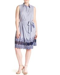 Sharagano - Lace Trim Shirt Dress (plus Size) - Lyst