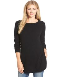 Halogen - Shirttail Wool & Cashmere Boatneck Tunic (petite) - Lyst