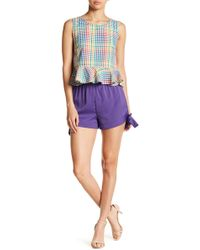 Romeo and Juliet Couture - Tie Accen Ruffle Waist Shorts - Lyst