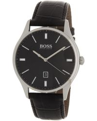 BOSS - Governor Croc Emed Leather Strap Watch, 44mm - Lyst