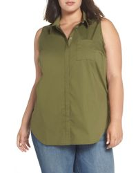 Sejour - Sleeveless Button Front Top (plus Size) - Lyst