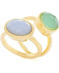 Cole Haan - Bezel Set Faceted Oval Stone Rings - Set Of 2 - Lyst