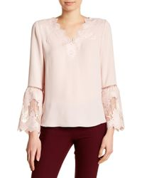Catherine Malandrino - Side Split Lace Trim Blouse - Lyst