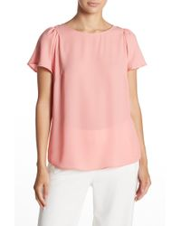 Cece by Cynthia Steffe - Flutter Sleeve Crepe Blouse - Lyst