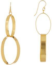 Argento Vivo - 18k Gold Plated Sterling Silver Double Link Drop Earrings - Lyst