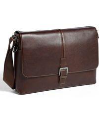 Boconi - 'tyler' Leather Buckle Laptop Messenger Bag - Lyst