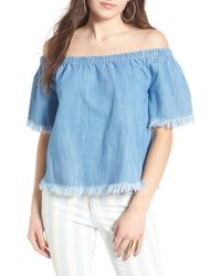 Tinsel - Frayed Denim Off The Shoulder Top - Lyst