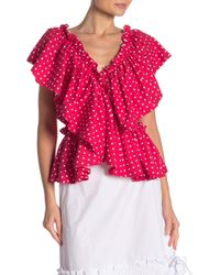 Lost Ink - Ruffle Front Polka Dot Top - Lyst