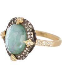 Armenta - Old World Oval Pave Crivelli Prong Emerald Cluster Ring - 0.06 Ctw - Size 6.5 - Lyst