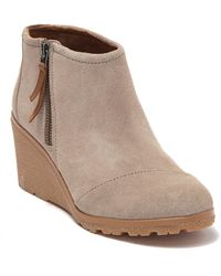 TOMS Avery Suede Wedge Bootie - Brown