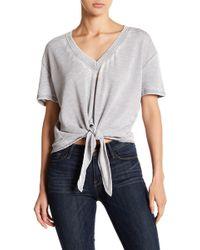 Alternative Apparel - Tie Front Short Sleeve Sweater - Lyst