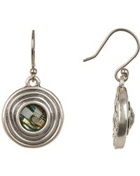 Lucky Brand - Bezel Set Stone Texture Drop Earrings - Lyst