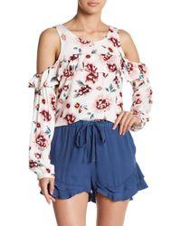 Jack BB Dakota - Cold Shoulder Floral Print Blouse - Lyst