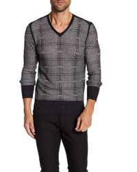 John Varvatos - Pattern V-neck Sweater - Lyst
