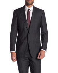 Brooks Brothers - Gray Striped Two Button Notch Lapel Wool Regent Fit Blazer - Lyst