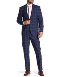Vince Camuto - Medium Blue Plaid Print Wool Slim Fit 2-piece Suit - Lyst