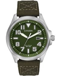 Citizen - Men's Eco-drive Military Inspired Green Nylon Strap Watch - Lyst