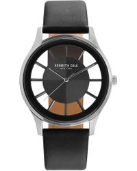 Kenneth Cole - Men's Leather Strap Watch, 46mm - Lyst