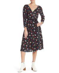Marc Jacobs - Floral Silk Wrap Midi Dress - Lyst