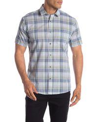 Ike Behar Plaid Short Sleeve Shirt - Blue