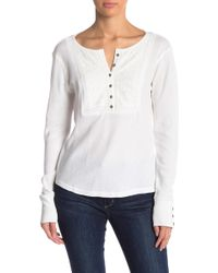 Lucky Brand - Embroidered Long Sleeve Thermal Henley - Lyst