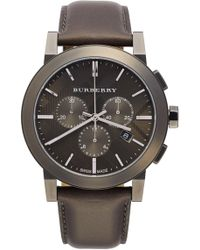 Burberry | Men's Check Stamped Chronograph Leather Strap Watch | Lyst