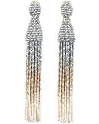 Oscar de la Renta - Ombre Beaded Tassel Clip On Drop Earrings - Lyst
