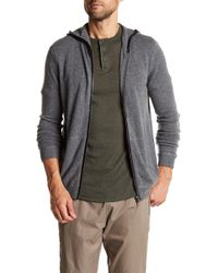 Autumn Cashmere - Leather Contrast Zip-up Hoodie - Lyst