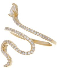 Adornia - 14k Gold Plated Swarovski Crystal Accented Winding Snake Ring - Lyst
