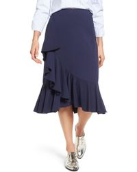 Halogen - Ruffled Knit Skirt - Lyst