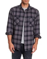 Quiksilver - Plaid Print Regular Fit Faux Shearling Lined Shirt - Lyst