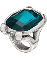 Uno De 50 - Hold On Cushion-cut Green Swarovski Crystal Ring - Lyst