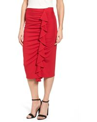 Halogen - (r) Side Ruffle Pencil Skirt - Lyst